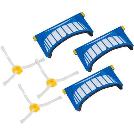 Комплект сменных элементов (три фильтра и три боковых щетки) для Roomba 500 и Roomba 600 серии. AeroVac.